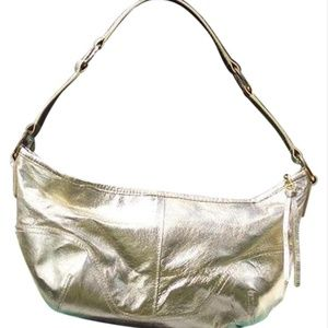 Cache Gold Metallic Leather Purse Zip Top New